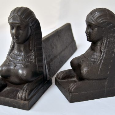 Cast Iron French Sphinx Form Firedogs Andirons