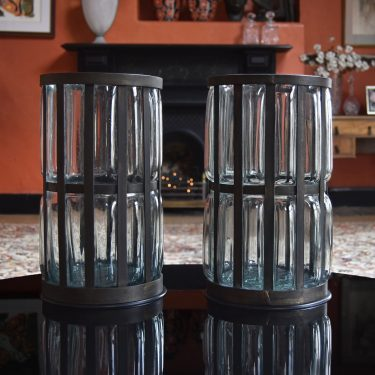 Vintage hurricane candle holders