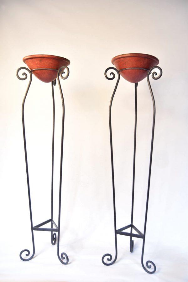 Wrought iron floor standing planters